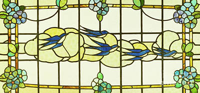Swallow Glass Art - Arts And Crafts Panel Of A Group Of Swallows Before Clouds In A Border Of Flowers by English School