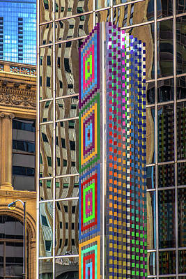 Pyrography - Artwork And Reflections On The Chase  Building On Michigan Ave  by Judith Barath