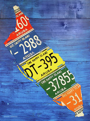 Travel Mixed Media - Aruba License Plate Map By Design Turnpike by Design Turnpike