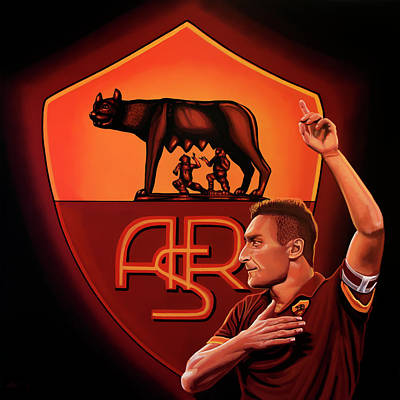 Sports Star Painting - As Roma Painting by Paul Meijering