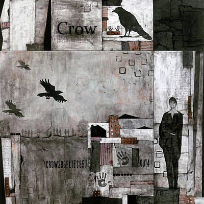 Crow Mixed Media - As The Crow Flies  by Laura Lein-Svencner