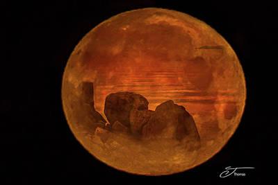 Wall Art - Photograph - As The Moon Sets, The Sun Rises Petoskey Michigan by J Thomas