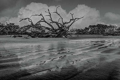 Photograph - As The Tide Goes Out In Black And White by Debra and Dave Vanderlaan