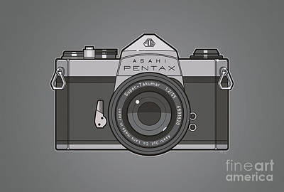 Asahi Pentax 35mm Analog Slr Camera Line Art Graphic Gray Original
