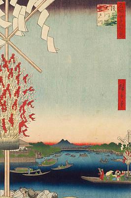 Asia Painting - Asakusa River, Great Riverbank, Miyato River by Utagawa Hiroshige