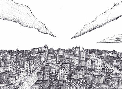 Concept Art Inks Drawing - Asal-scape by Justin Adkins