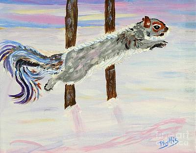 Painting - Asbed's Swishy Tailed Squirrell by Phyllis Kaltenbach