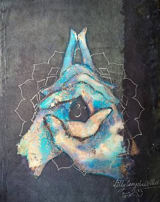 Ahimsa Painting - Ascension - Crown 'blue Hand' Chakra Mudra by Silk Alchemy