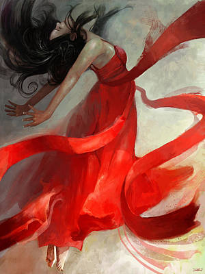 Red Art Painting - Ascension by Steve Goad