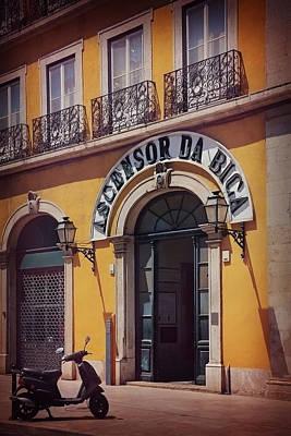 Framed Old Town Door Photograph - Ascensor Da Bica Lisbon by Carol Japp