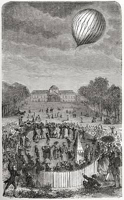 Ascent Of Charles Balloon Over The Art Print by Vintage Design Pics