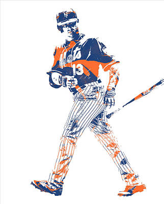 Mixed Media - Asdrubal Cabrera New York Mets Pixel Art 1 by Joe Hamilton