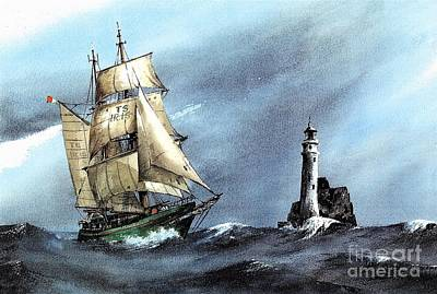 Painting - Asgard 11 Rounding The Fastnet Rock by Val Byrne