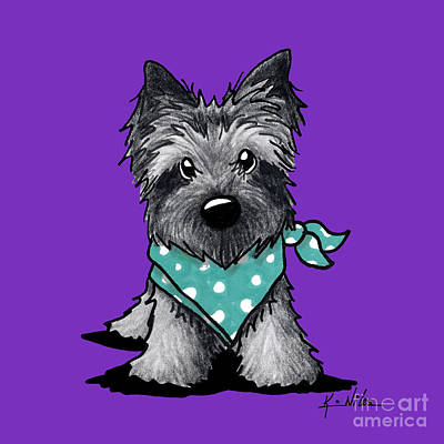 Ash Cairn Terrier In Dots Art Print
