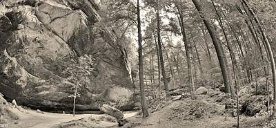 Photograph - Ash Cave Panorama At Hocking Hills Ohio Black And White by Lisa Wooten