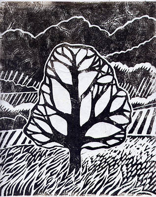 Lino Painting - Ash Tree by Becca Thorne