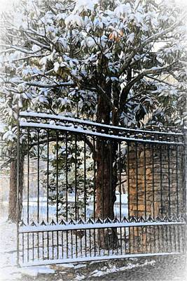Winter Photograph - Asheville Botanical Gardens Main Gate Painting by Carol R Montoya