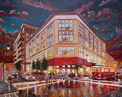 Painting - Asheville Cityscape At Battery Park Haywood Park Hotel by Gray Artus