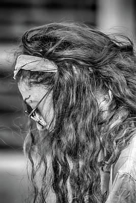 Photograph - Asheville Guitar Busker Woman by John Haldane