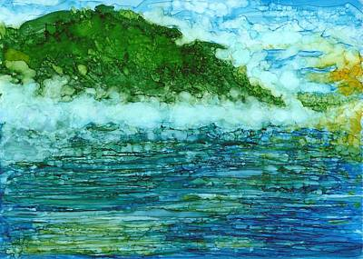Joy Dorr Painting - Asheville Misty Mountain Lake by Joy Dorr