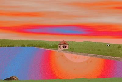 Digital Art - Ashland Reservoir At Dusk by Cliff Wilson