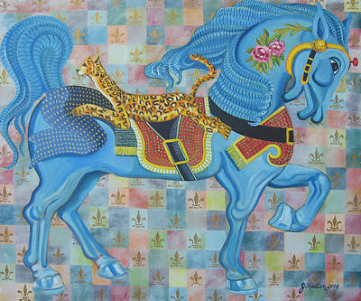 Painting - Ashley's Carousel Horse by John Keaton