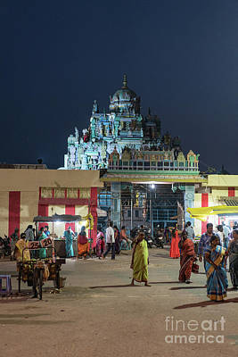 Real Life Photograph - Ashtalakshmi Temple At Night Chennai India by Mike Reid