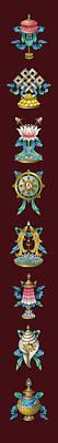 Shell Sign Digital Art - Ashtamangala Eight Auspicious Signs by Thoth Adan