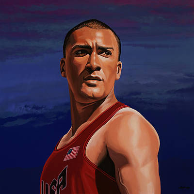 Indoor Painting - Ashton Eaton Painting by Paul Meijering