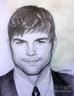 Drawing - Ashton Kutcher Drawing by Lin Petershagen