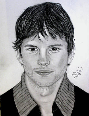Drawing - Ashton Kutcher by Kimber  Butler