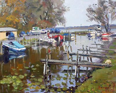 Marina Painting - Ashville Bay Marina by Ylli Haruni