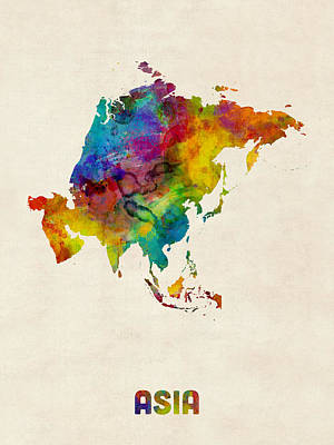 Digital Art - Asia Continent Watercolor Map by Michael Tompsett