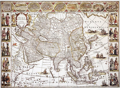 Photograph - Asia: Map, C1618 by Granger
