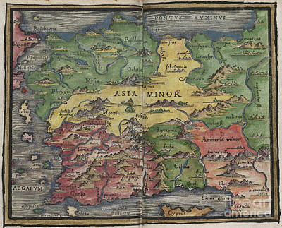 Photograph - Asia Minor Map By Johannes Honter 1542 by Rick Bures