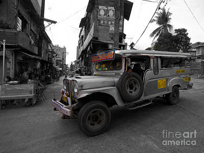 Photograph - Asia Philippines Jeepney Slim Buildings 6272537sc by Rolf Bertram
