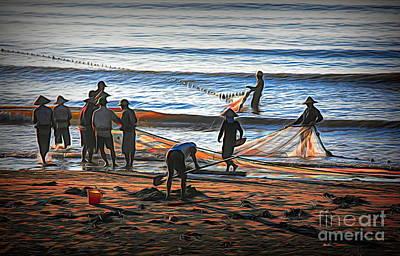 Photograph - Asia Vietnamese Men Gathering Fishing Nets Thinh Long Beach  by Chuck Kuhn
