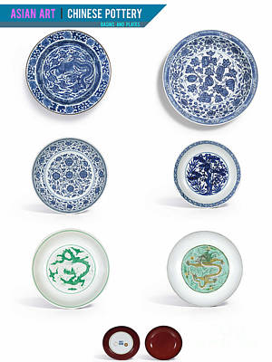 Photograph - Asian Art Chinese Pottery - Basins And Plates  by Celestial Images