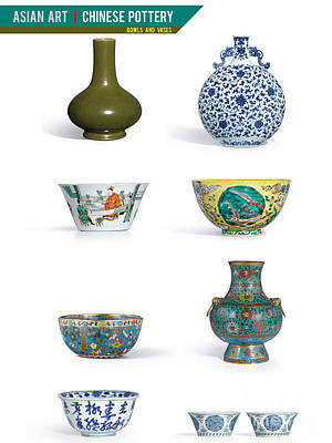 Asian Art Chinese Pottery - Bowls And Vases  Art Print by Celestial Images