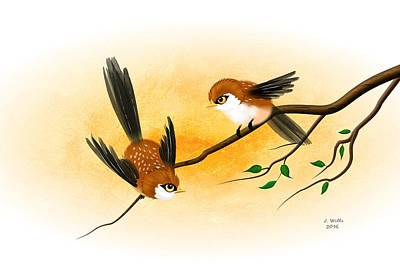 Digital Art - Asian Art Two Little Sparrows by John Wills
