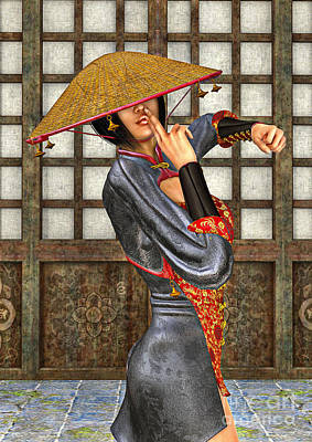 Digital Art - Asian Battle Woman by Design Windmill