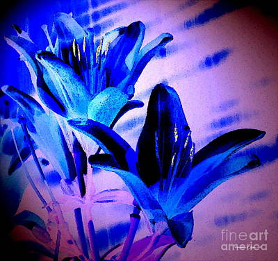 Photograph - Asian Blue Lily Abstract -- A Watercolor Paintograph by Christine S Zipps