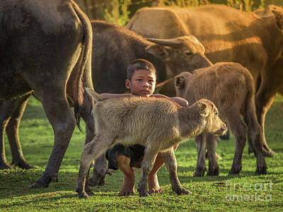 Art Print featuring the photograph Asian Children And Buffalo At Countryside. by Tosporn Preede