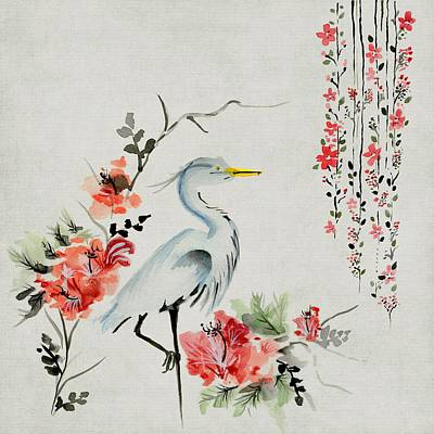 Painting - Asian Crane Floral Bird Art by Joy of Life Art Gallery