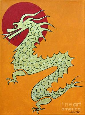 Painting - Asian Dragon Icon No. 1 by Jayne Somogy