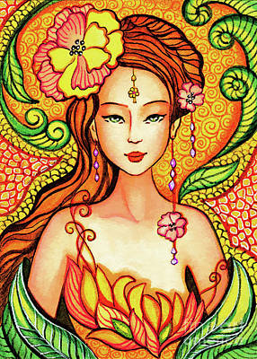 Painting - Asian Flower Mermaid by Eva Campbell
