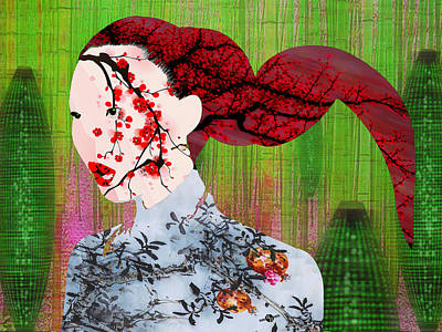 Hair Abstract Art Painting - Asian Flower Woman Red by Tony Rubino