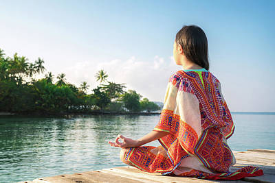 Photograph - Asian Girl Sit And Post Yoga Position On The Resort  by Anek Suwannaphoom