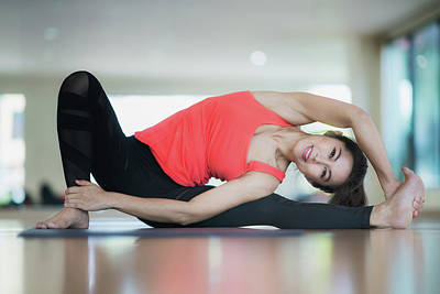 Photograph - Asian Lady Post Diffical Lavel Yoga Action by Anek Suwannaphoom