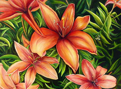Wall Art - Painting - Asian Lilies by Melinda Zielfelder